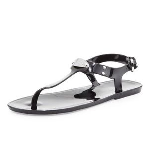 Michael Kors Black Jelly Plate Thong Sandals